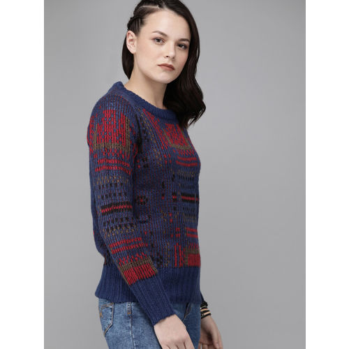 Roadster Women Blue & Red Self Design Pullover Sweater