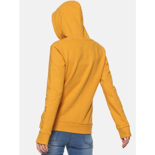 Campus Sutra Women Mustard Solid Hooded Sweatshirt