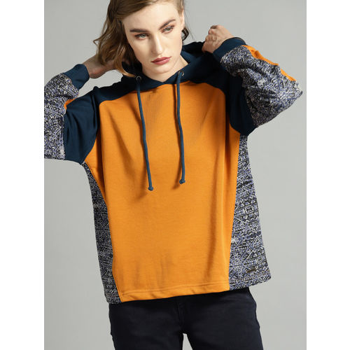 Roadster Women Orange & Navy Blue Colourblocked Hooded Sweatshirt