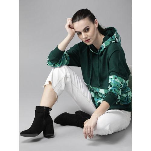 Roadster Women Green Printed Hooded Sweatshirt
