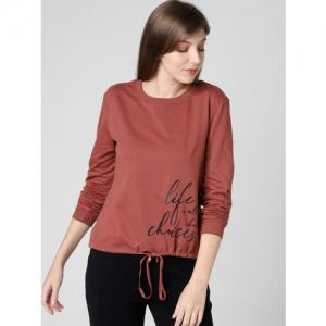 Vero Moda Women Rust Brown Printed Sweatshirt
