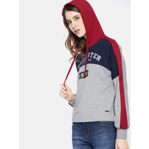 Roadster Women Grey Melange & Navy Blue Printed Hooded Sweatshirt