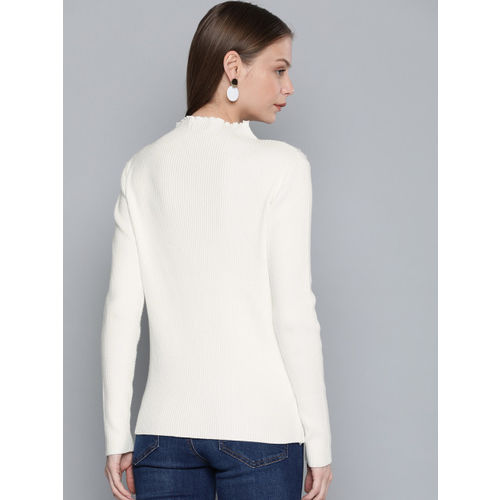 Chemistry Edition Women Off-White Ribbed Sweater
