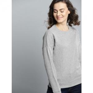 Mast & Harbour Women Grey Melange Solid Sweatshirt