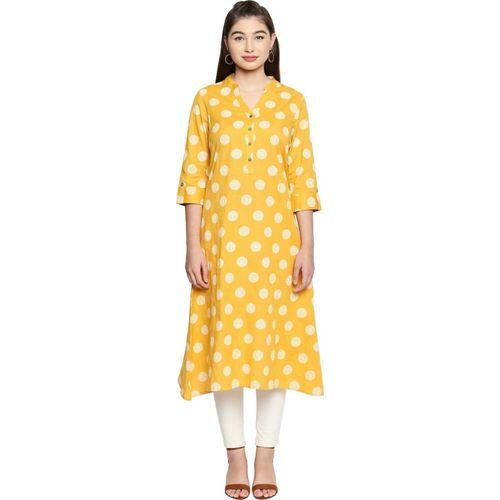 Rangmanch by Pantaloons Women Polka Print Straight Kurta(White, Yellow)