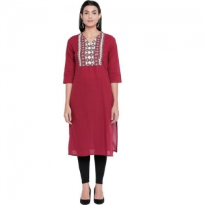 Rangmanch by Pantaloons Women Embroidered Straight Kurta(Red)
