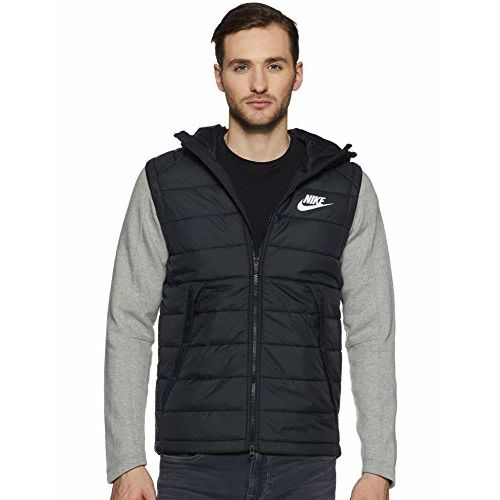 Nike Men's Hoodie (806864-11_Black/dk Grey Heather/White_L)