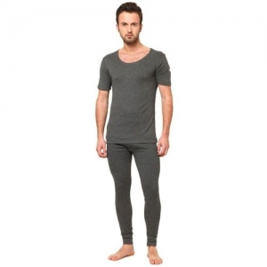 Jockey Charcoal Melange Half Sleeve Men Top - Pyjama Set Thermal