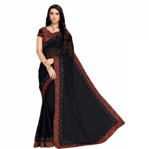 Maniyar black Poly Georgette embellished Saree