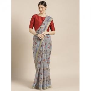 Blissta grey Cotton Blend floral print Saree