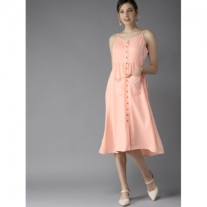 HERE&NOW Women Peach-Coloured Fit and Flare Dress