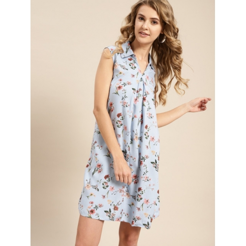 AKS Couture Women Blue Floral Print A-Line Dress