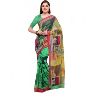 Blissta green Poly Georgette Printed Saree