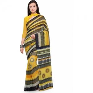 Vaamsi yellow Chiffon Printed Daily Wear Saree