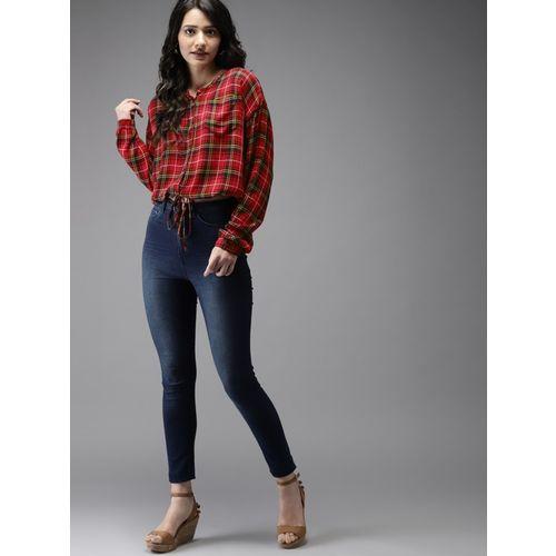 Moda Rapido Casual Cuffed Sleeve Checkered Women Red Top