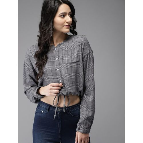 Moda Rapido Casual Regular Sleeve Checkered Women Grey Top