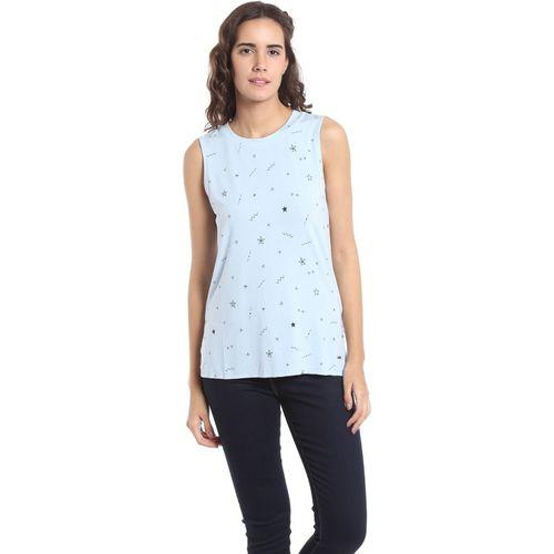 Vero Moda Casual Sleeveless Printed Women Light Blue Top