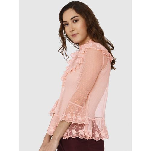 Vero Moda Women Peach-Coloured Self Design Sheer Top