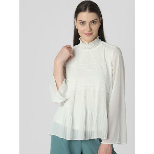 Vero Moda Women White Self Design Top