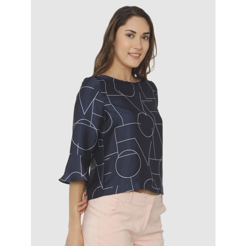 Vero Moda Women Navy Geometric Printed Top