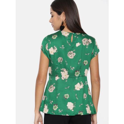 Vero Moda Women Green & Beige Printed Cinched Waist Top