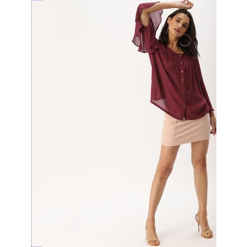 DressBerry Women Burgundy Solid A-Line Top