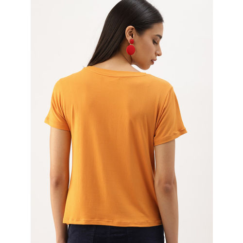 DressBerry Women Mustard Yellow & Navy Blue Solid Set Of 2 Round Neck T-shirts