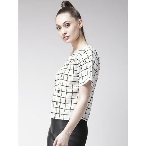 Style Quotient Women White Checked Top