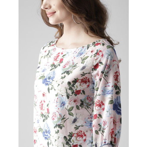 Style Quotient by noi Women Pink & Blue Printed Styled Back Top