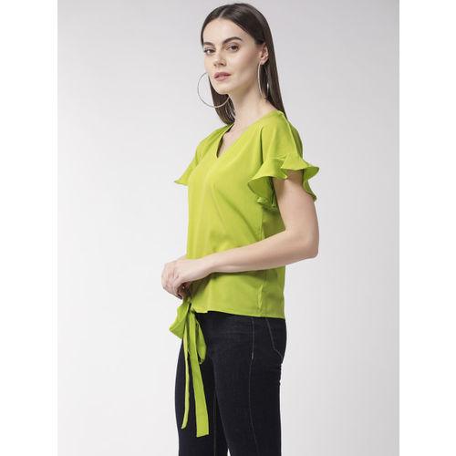 Style Quotient Women Fluorescent Green Solid Top