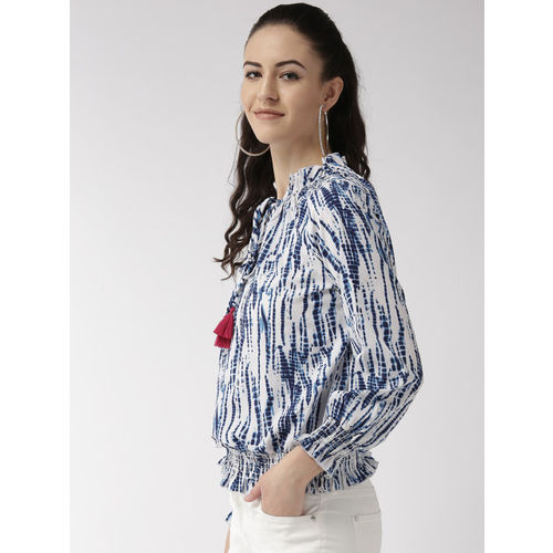 Style Quotient Women White & Blue Printed Blouson Top