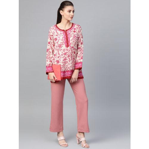 Biba Women Cream-Coloured & Pink Printed Top