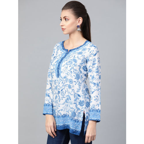 Biba Women White & Blue Printed Top