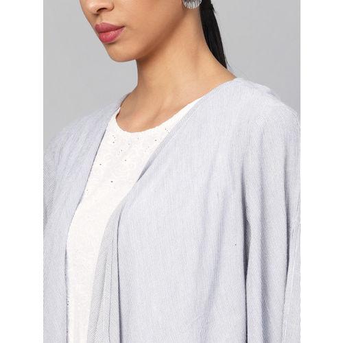 Biba Women White Schiffli Embroidered Top with Shrug