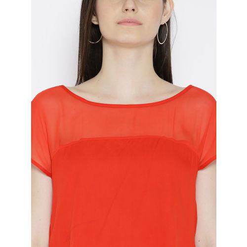 Biba Women Orange Solid High-Low Top