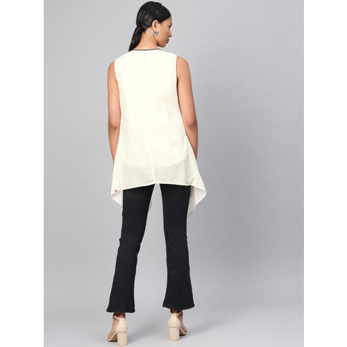 Biba Women Charcoal Grey & Off-White Printed Top with Shrug
