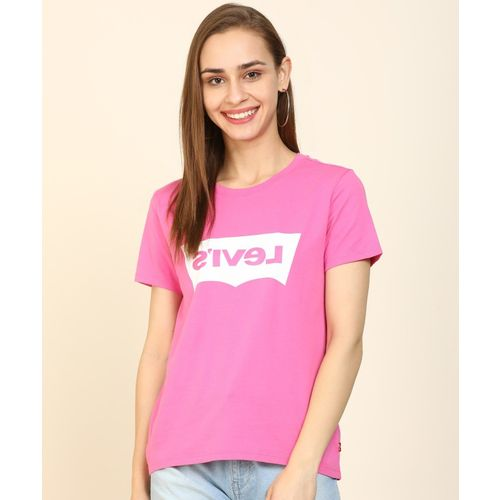 Levi's Printed Women Round Neck Reversible Pink T-Shirt