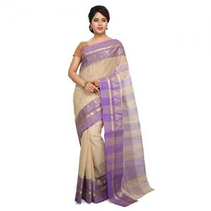 Aahiri white Cotton solid Saree