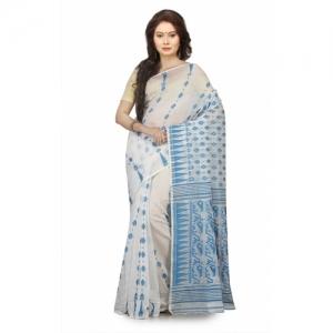 Aahiri white Cotton Silk Self Design Jamdani Saree