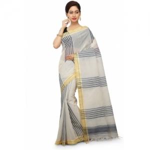 Aahiri white Cotton Blend Self Design Tant Saree