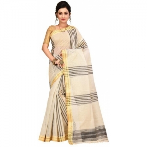 Aahiri white Cotton Striped Tant Pure Saree
