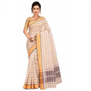 Aahiri White Cotton Self Design Tant Pure Saree