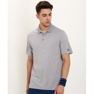 ADIDAS Grey Polo Neck Self Design T-shirt