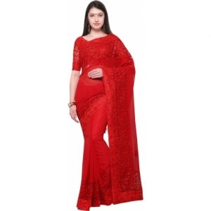 Aasvaa red Poly Georgette Embroidered Fashion Saree