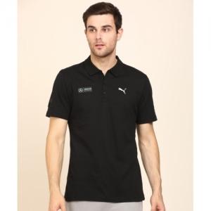 Puma Black Solid Polo Neck T-shirt