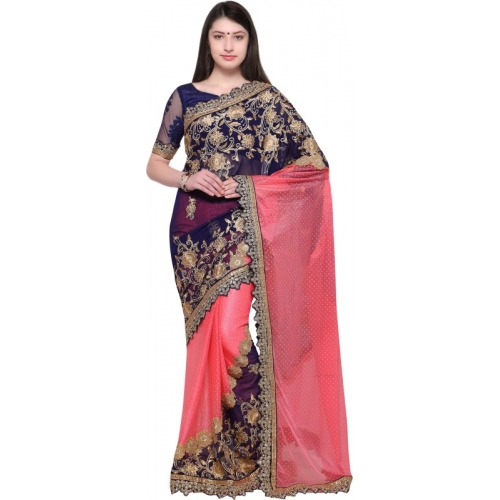 Aasvaa pink Poly Georgette Embroidered Fashion Saree