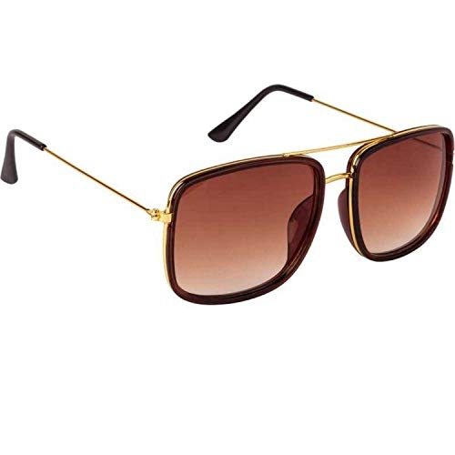 Dervin Golden Brown Square Sunglasses for Men