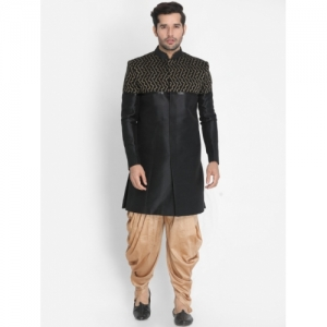 VASTRAMAY Black & Beige Silk Printed Sherwani With Dhoti Pants