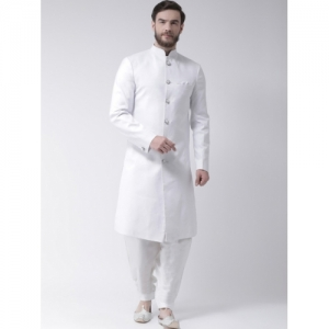Hangup White Textured Sherwani With Dhoti Pants