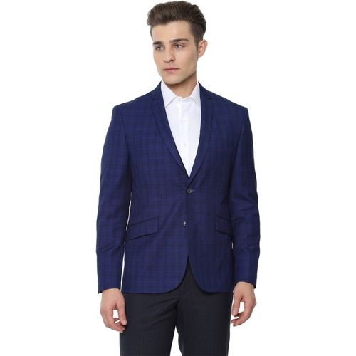 Van Heusen Checkered Single Breasted Formal Men Blazer(Dark Blue)